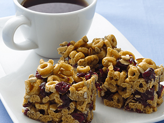 Banana Nut Bars by a cup of coffee