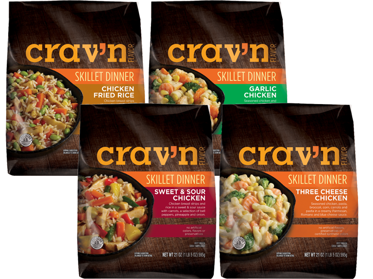 Cravn Flavors brand skillet dinners varieties include chicken fried rice garlic chicken sweet and sour chicken and three cheese chicken
