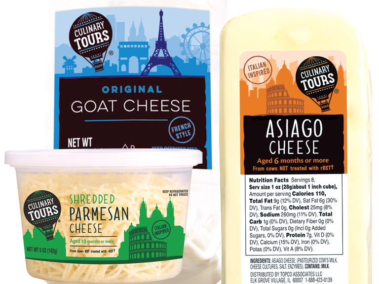 Culinary Tours brand shredded parmesan, goat and Asiago cheeses