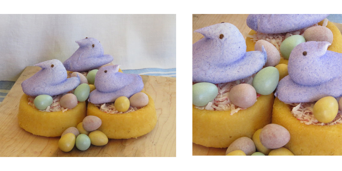 Purple peeps on shortcakes