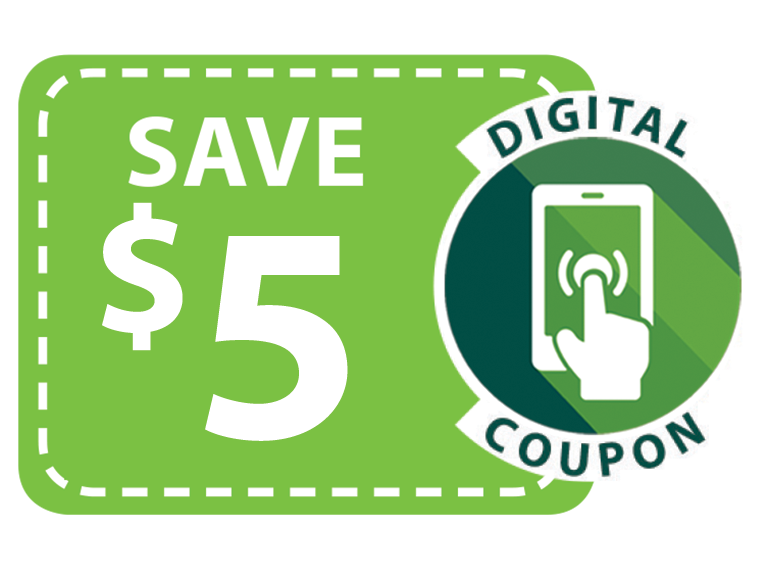 Digital Coupon Icon save 5 dollars by clipping
