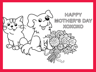 Mother's Day dog and cat coloring card