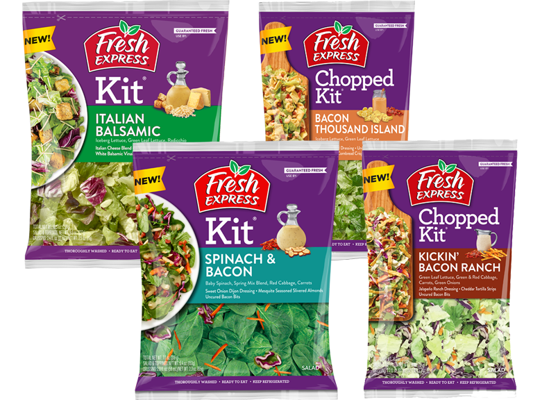 Packages of Fresh Express Brand Salad kits Italian Balsamic Bacon Thousand Island Spinach and Bacon Kickin Bacon Ranch