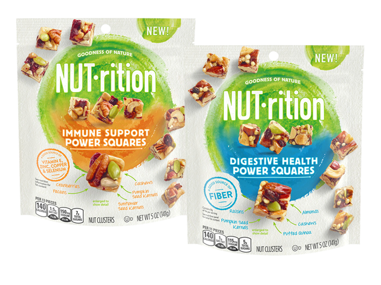 packages of NUTrition fruit and nut snacks