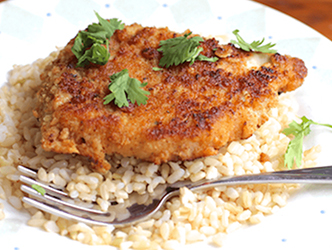 Honey Nut Cheerios Breaded Pork Chops on rice