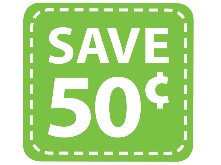 Save 50 cents with digital coupons