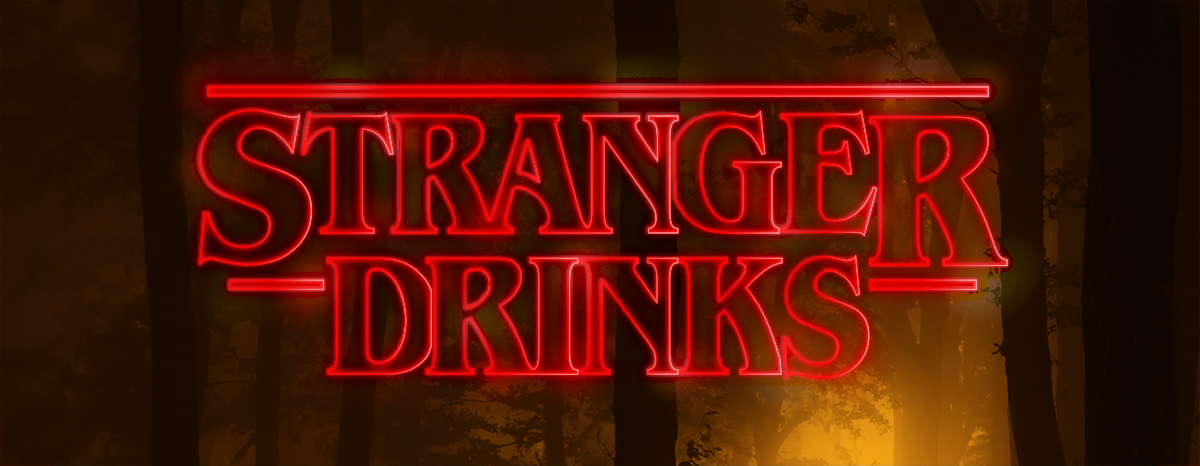 Stranger Drinks mysterious looking title over spooky forest
