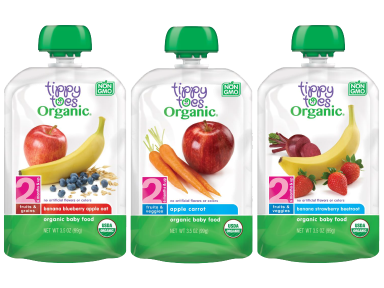Tippy Toes brand organic baby food pouches varieties include banana blueberry apple oat apple carrot and banana strawberry beetroot