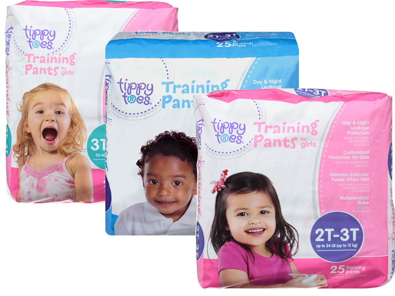 Collage of Tippy Toes brand toddler training pants