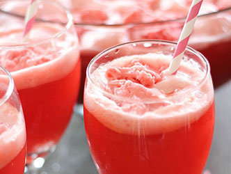 7UP Holiday Party Punch with raspberry sherbet and vanilla ice cream