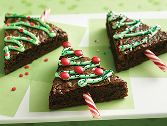 Holiday brownies cut into Christmas Tree shapes