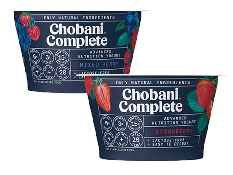 containers of Chobani Complete brand yogurt