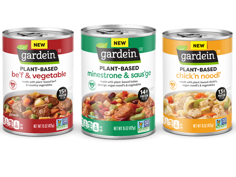 Collage of Gardein Brand Plant-Based Meat Soups