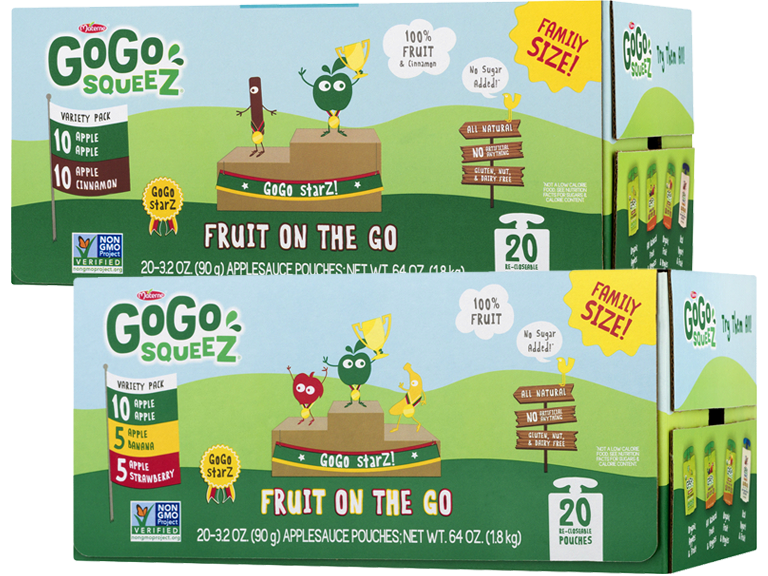 Boxes of Go Go brand kids fruit pouch snacks