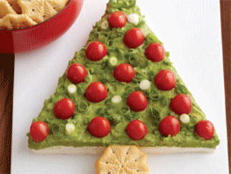 Guacamole for the holidays, shaped into a festive Christmas treet