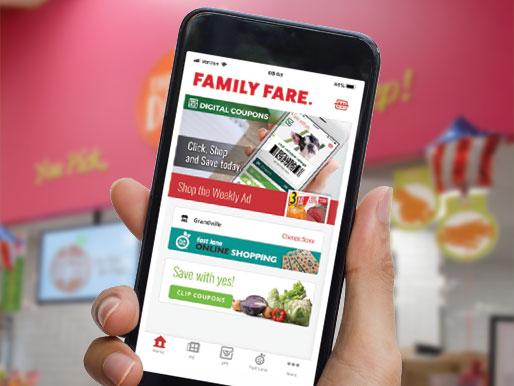 smart phone with Family Fare app on the screen