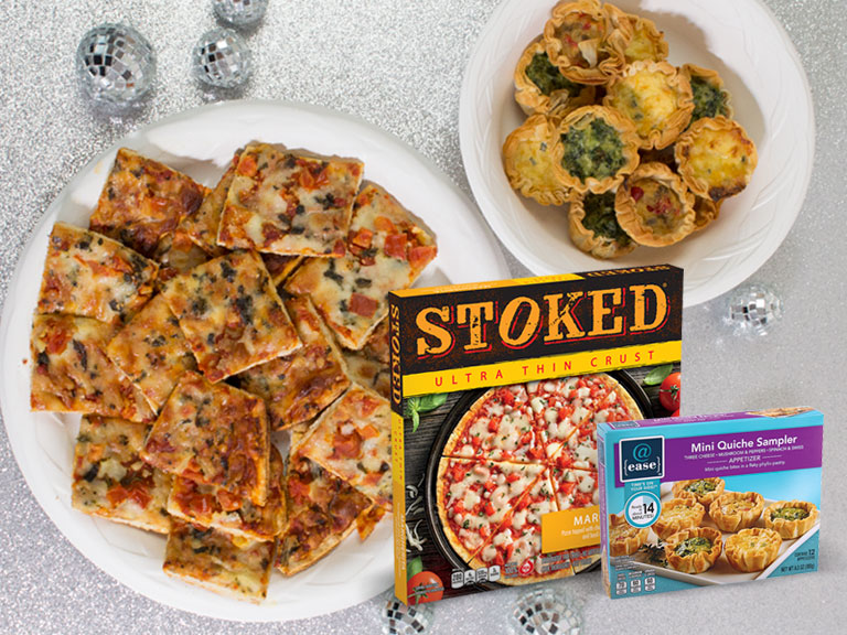 holiday setting with stoked pizza and @ease mini quiche sampler
