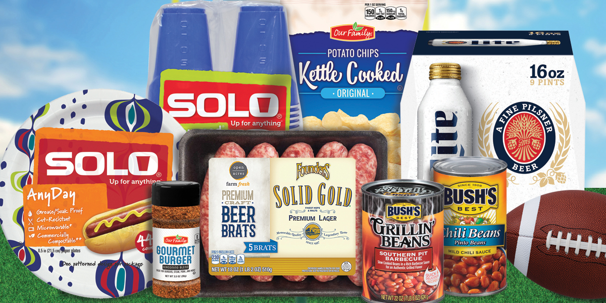 Get super savings on ingredients for your tailgate party!