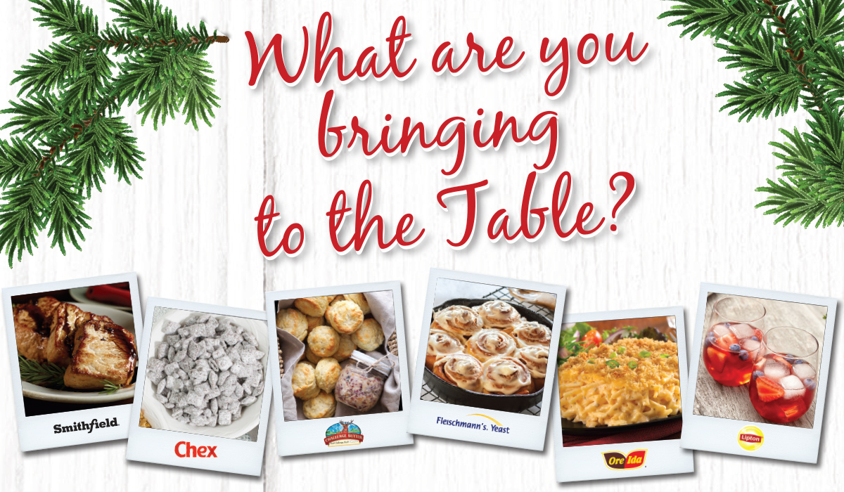 what are you bringing to the table graphic with holiday food photopgraphs