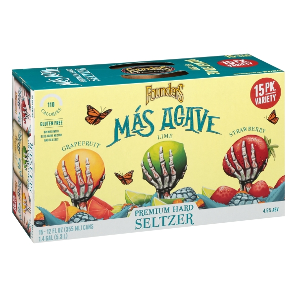 Founders Mas Agave Seltzer Variety Pack 15pk Can